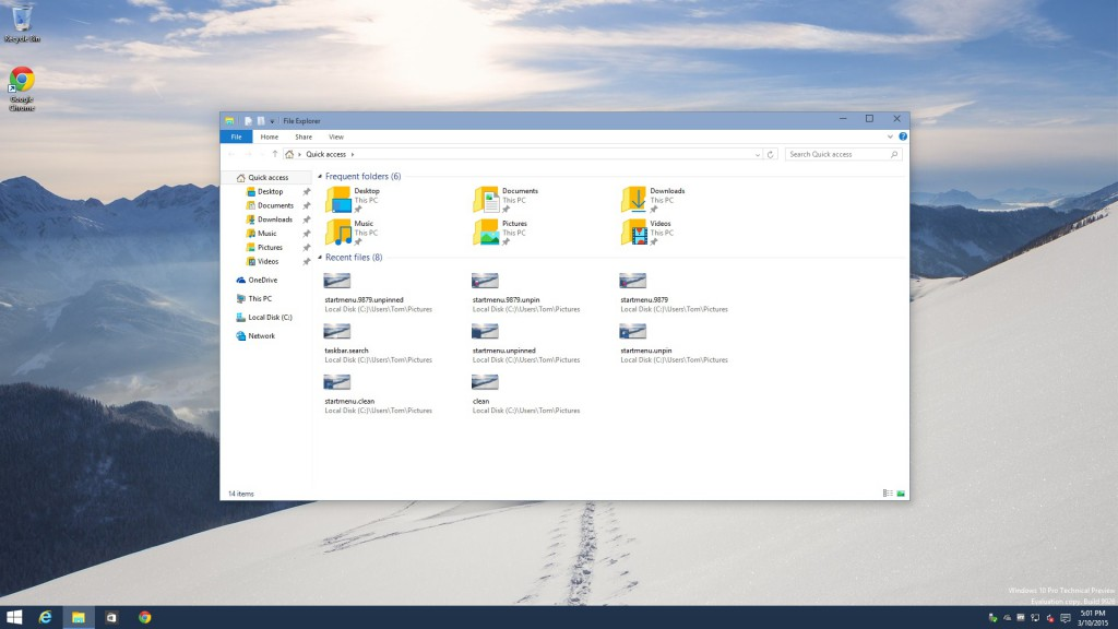 Windows 10 Build 9926 Explorer with OneDrive