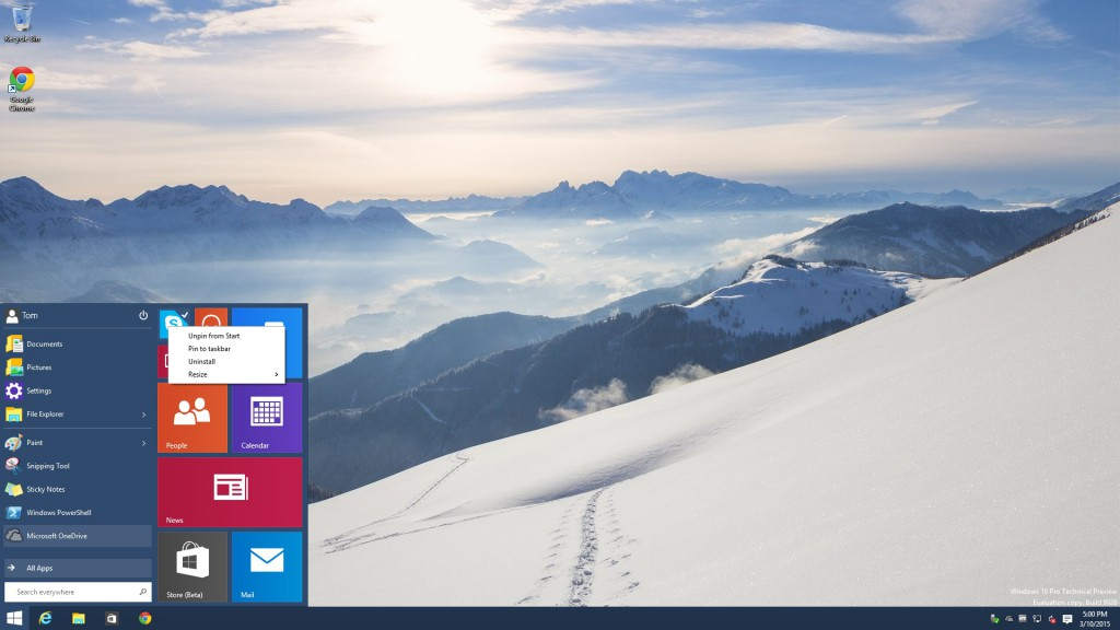 Windows 10 Build 9926 Start Menu like before with Build 9879