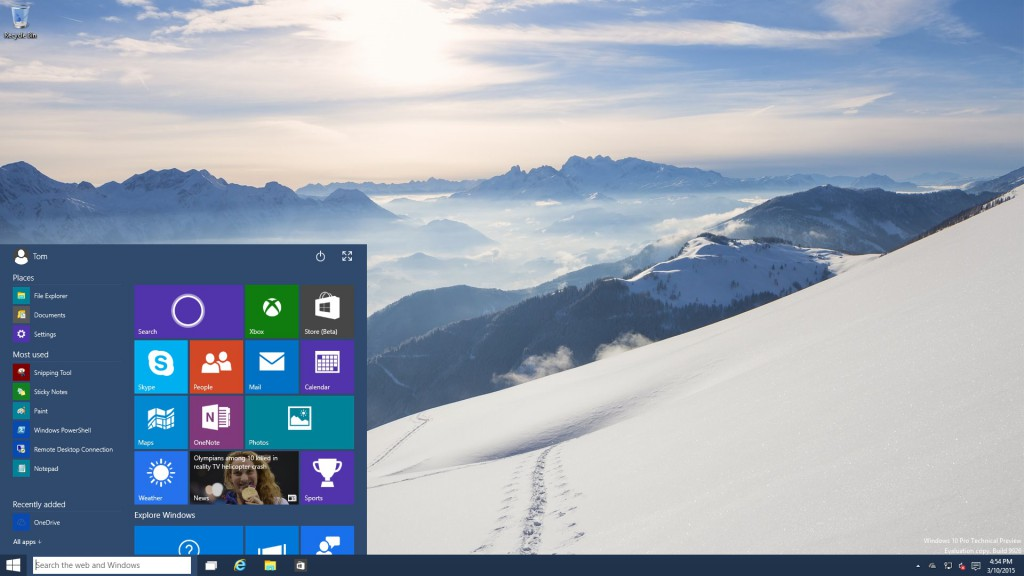 Windows 10 Build 9926 Start Menu