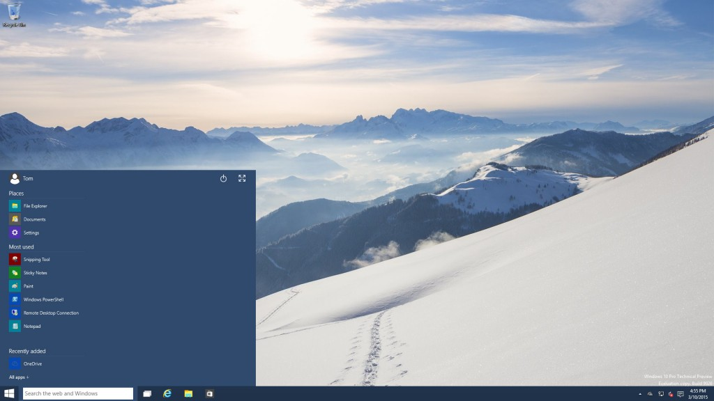 Start Menu Wide Unpinned